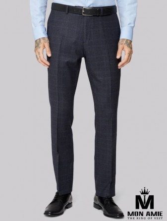 Checked Regular Fit Trouser in Dark Blue